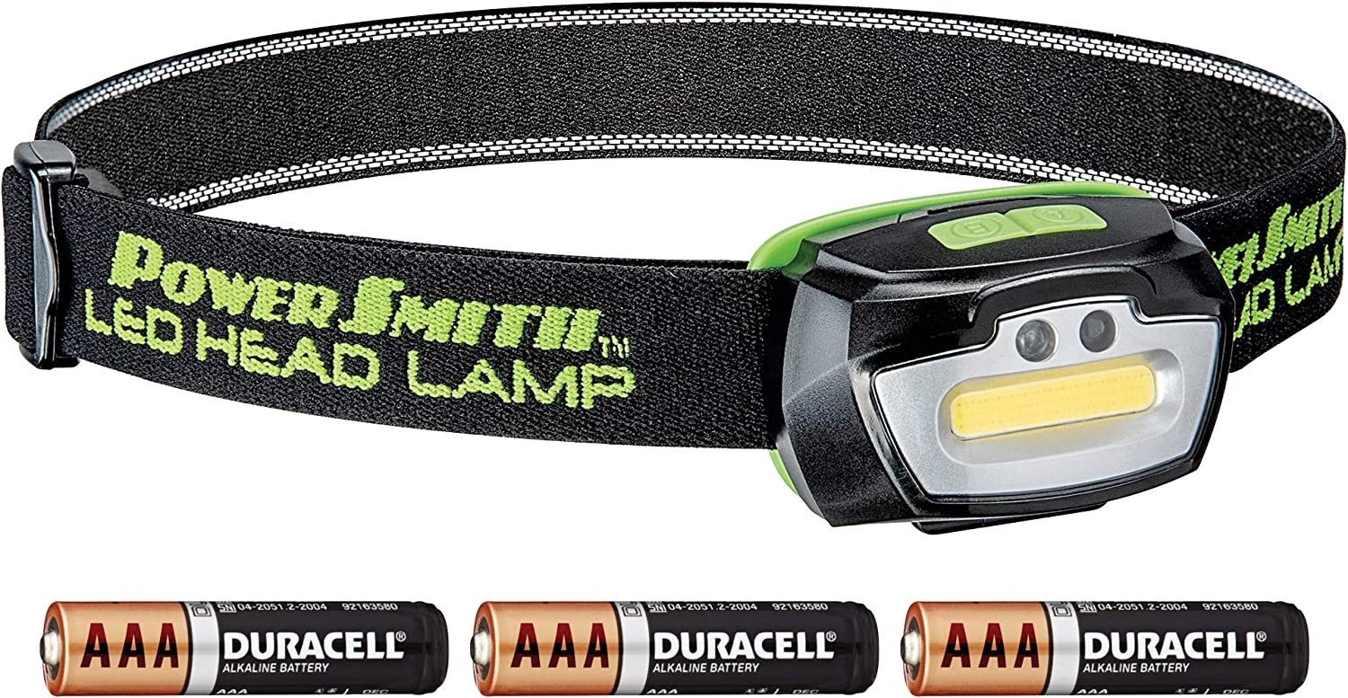 PowerSmith PHL23FRGS 230 lm Motion Sensor Activated Weather Proof Head Lamp with Adjustable Head Strap, Red, Green, White High Low Light, 3 AAA Batteriesup To 10 Hours Run Time