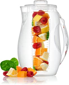 Perlli Tea Infuser Water Pitcher - 2.5 liter Clear Plastic Flavor Pitcher with Lid and Spout For Fruit Infusion - Large BPA Free Glass Look Loose Leaf Tea Pitcher with Ice Core Rod For Chilling Drinks