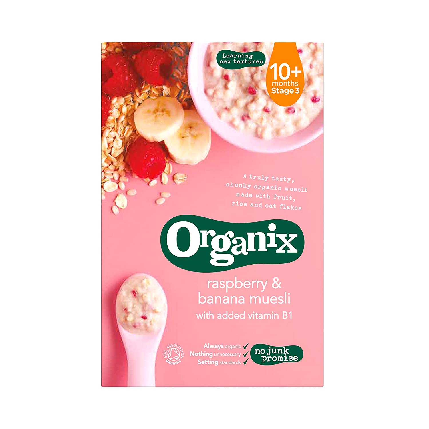 Organix - Stage 3 From 10 Months - Organic Infant Cereals - Raspberry & Banana Muesli - 200g 106451854