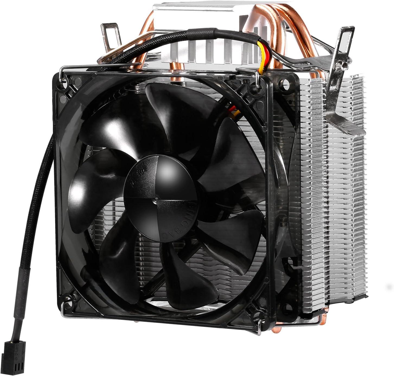 Ventilador CPU con 6mm de doble tubo, refrigeración hasta un 30%, 105 vatios, Ventilador desmontable con cable ignífugo, compatible con múltiples tomas de corriente, silenciosos a Intel / AMD (F2)
