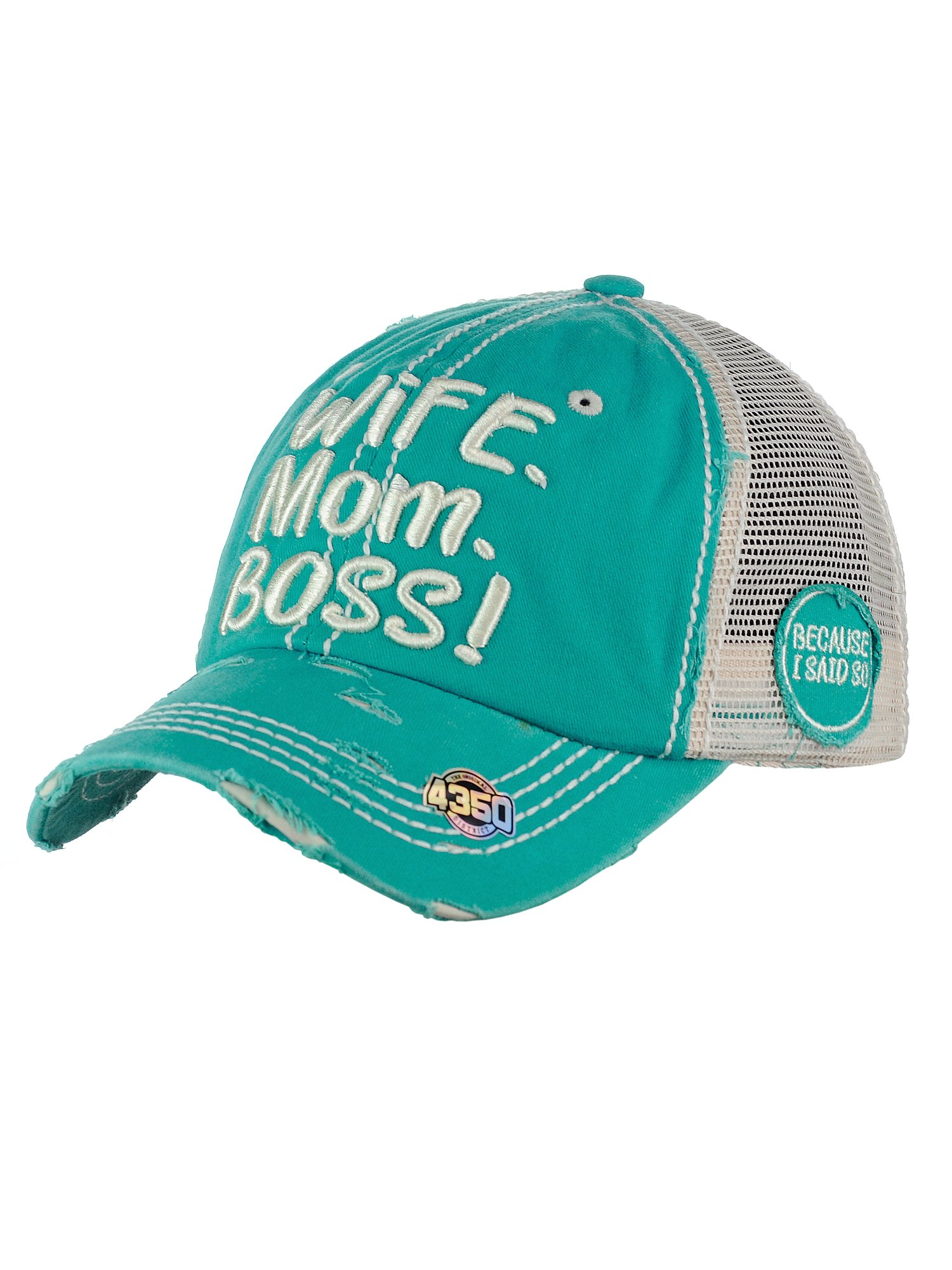 NYFASHION101 Women's Distressed Unconstructed Embroidered Mesh Baseball Dad Hat, Boss, Turquoise