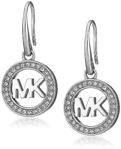 17d0764fe Amazon.com: Michael Kors Silver-Tone MK Logo Drop Earrings: Jewelry