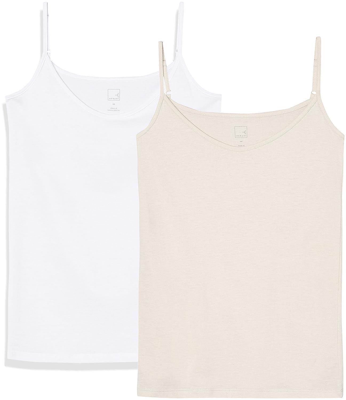 TALLA 36 (Talla del fabricante: X-Small). Marca Amazon - MERAKI Camiseta Mujer de Tirantes, Pack de 2