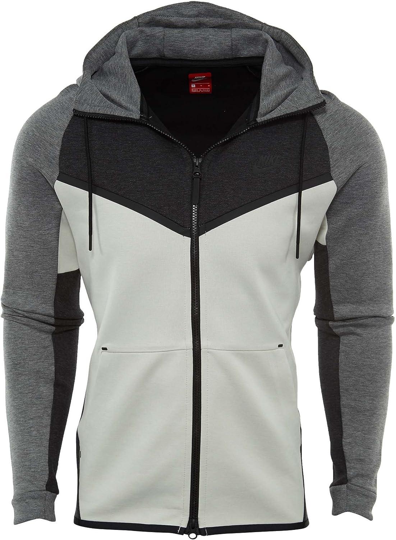 Nike 885904-473 Men M NSW TCH FLC WR Hoodie FZ CB Obsidian Heather Black