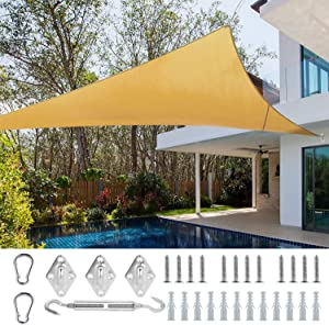 Ohuhu 16' X 16'X 16' Triangle Sun Shade Sail with Sturdy Hardware Kit Stainless Steel, 100% HDPE Shade Canopy Sand Color UV Block, Sun Shades for Patios Yard Garden Outdoor Activities