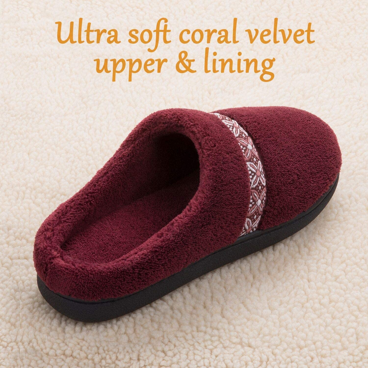 Comfy Coral Fleece Slip-on House Shoes with Anti-Skid Rubber Sole Indoor//Outdoor ULTRAIDEAS Women/'s Cozy Memory Foam Slippers