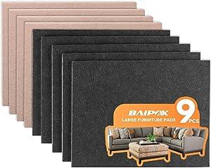 Furniture Pads 9 Pcs Two Color (Black 5 Pcs + Beige 4 Pcs) Large Felt Pads Self Adhesive, 8