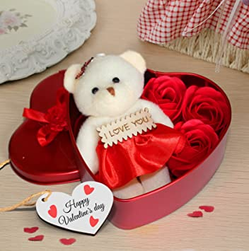 7e239e9078a03 TiedRibbons for Boyfriend Girlfriend Husband Wife Lover Pack(Heart Shaped  Box with Teddy and Roses and Wooden Tag)  Amazon.in  Home   Kitchen