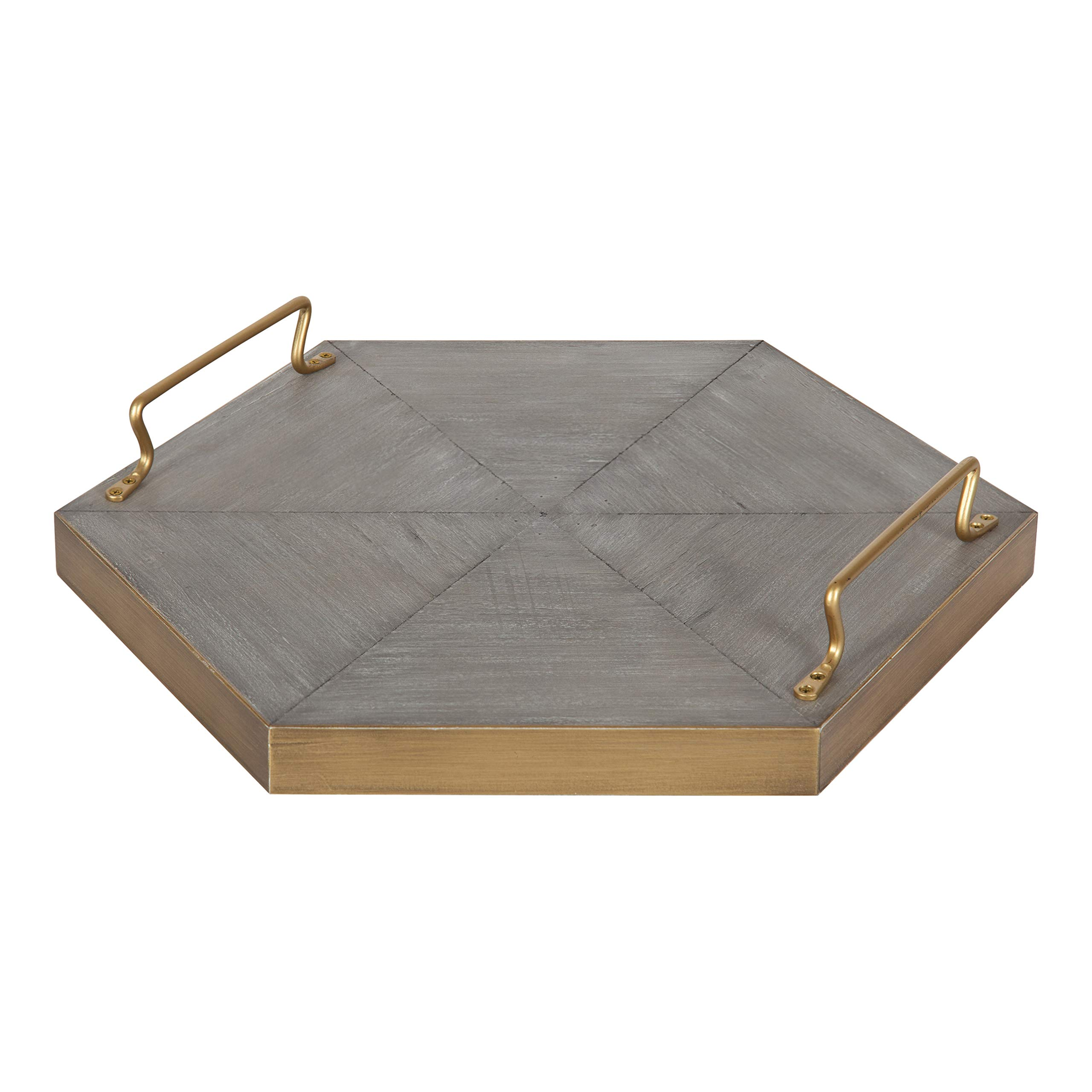 Kate and Laurel Sade Decorative Hexagon Tray with Handles, 16'', Concrete Gray and Gold, Modern Tray for Ottoman, Centerpieces, Or Bathroom and Bedroom Decor by Kate and Laurel
