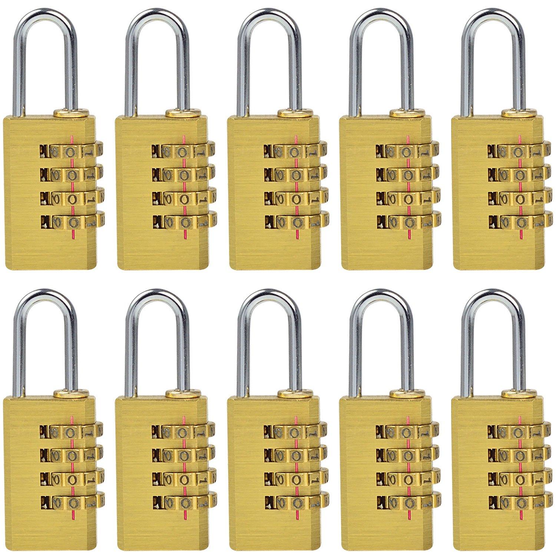 MENGS® 10 Stück MG214 Kombinations Zahlenschloss aus Messing und Stahlbügel mit 4 stelligem ZahlenCode für Taschen, Koffern, Schatullen, Kassetten, Schränken, Spinden, usw. GumpTrade 25070000601P10