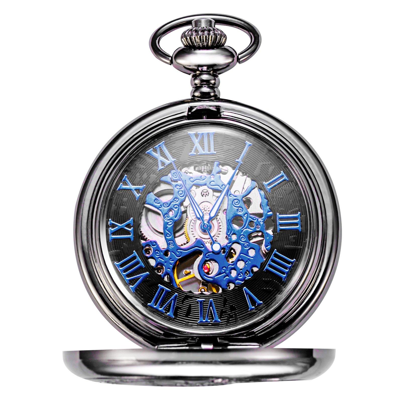 Treeweto Retro Mens Black Skeleton Mechanical Blue Roman Numerals Pocket Watch With Chain