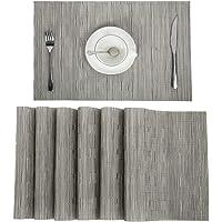 Pauwer PVC Placemats Set of 6 Washable Woven Vinyl Placemat for Kitchen Table Heat Resistant Non-Slip Kitchen Table…