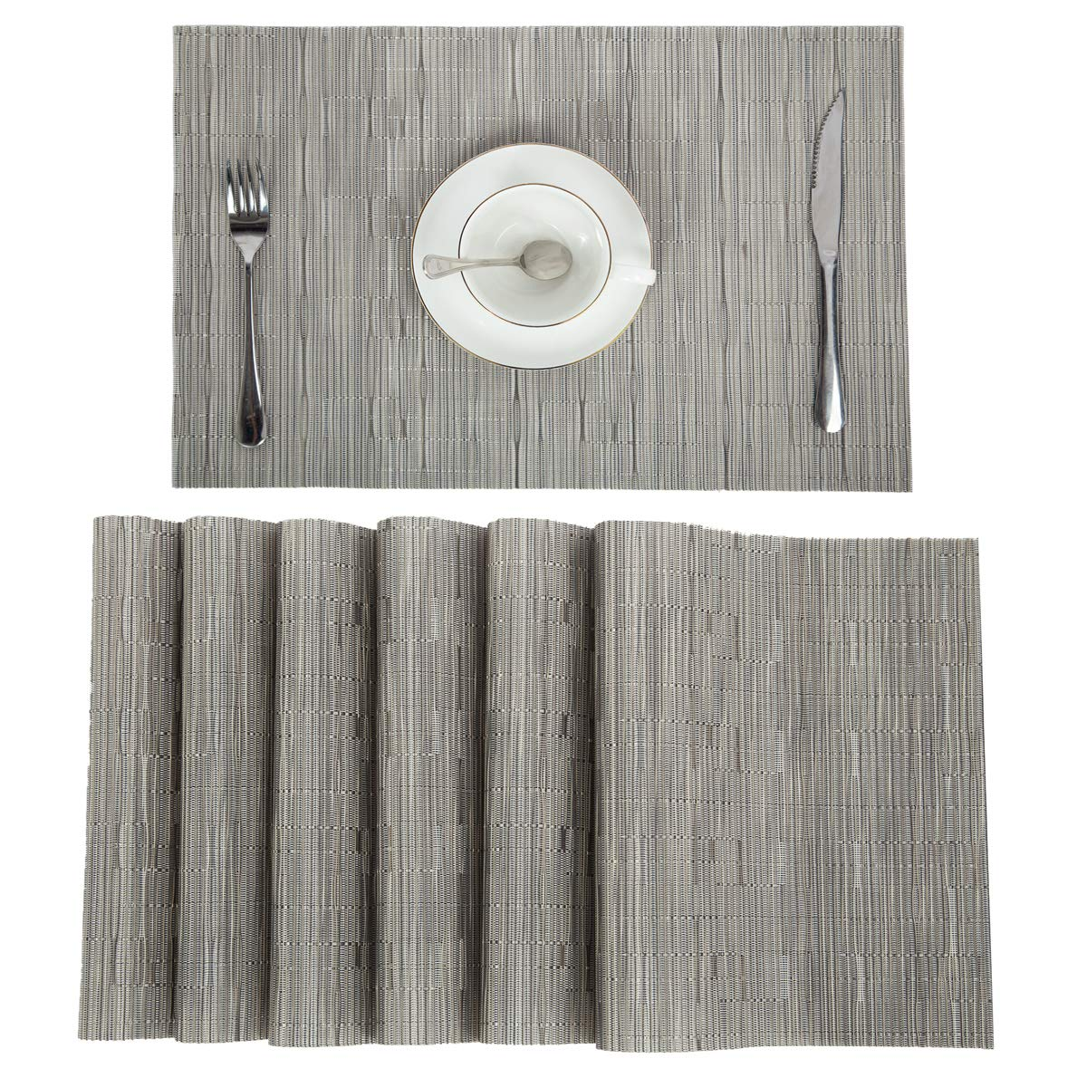 Pauwer PVC Placemats Set of 6 Washable Woven Vinyl Placemat for Kitchen Table Heat Resistant Non-Slip Kitchen Table Place Mats Wipe Clean (6pcs Placemats, Silver Grey)