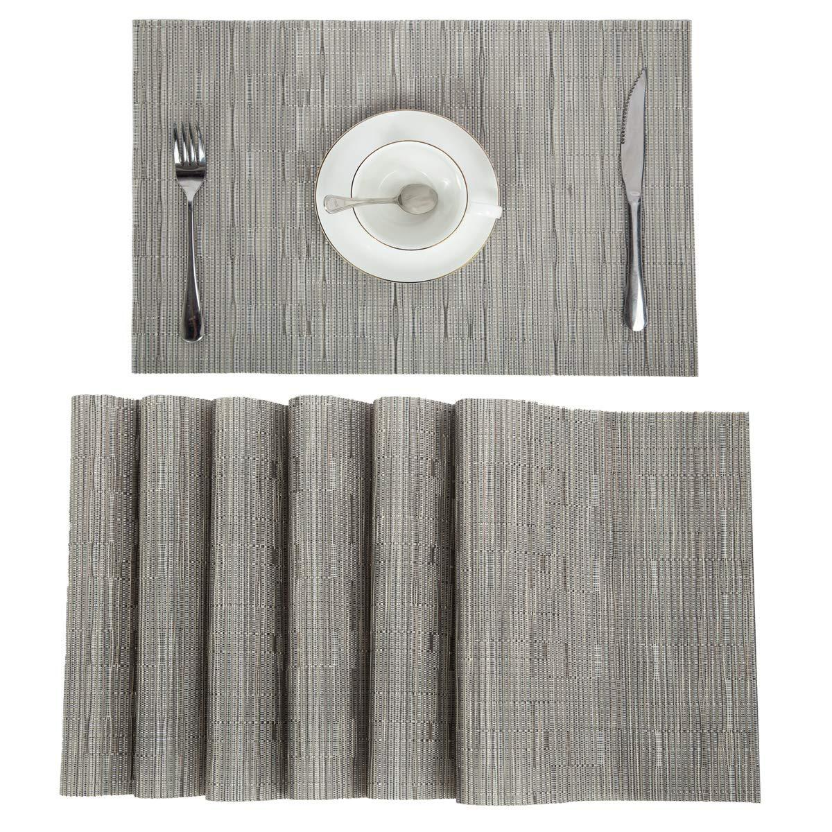 Pauwer PVC Placemats Set of 8 Washable Woven Vinyl Placemat for Kitchen Table Heat Resistant Non-Slip Kitchen Table Place Mats Wipe Clean (8pcs Placemats, Silver Grey)