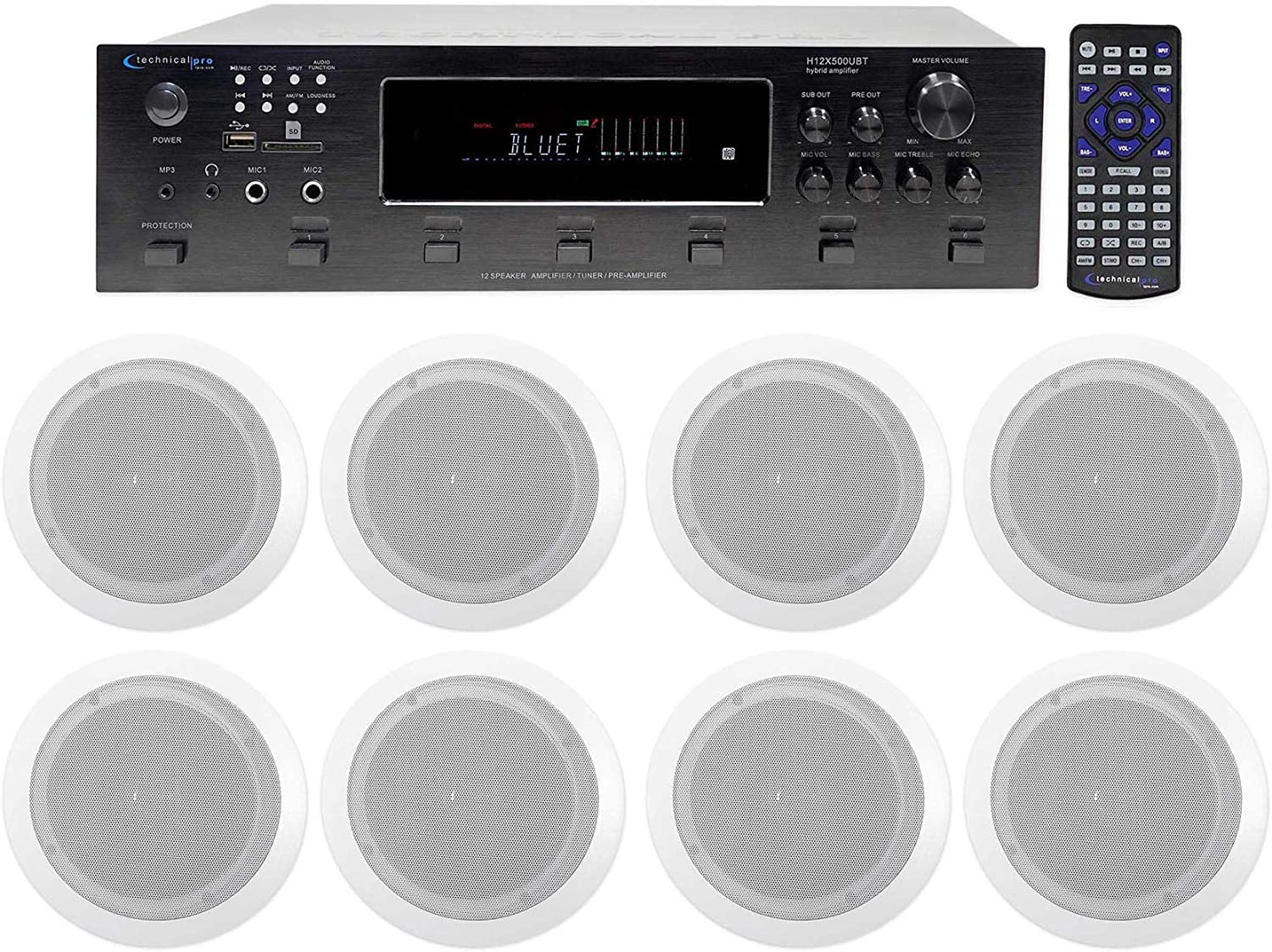 Technical Pro 6000w (6) Zone, Home Theater Bluetooth Receiver+(8) 6.5