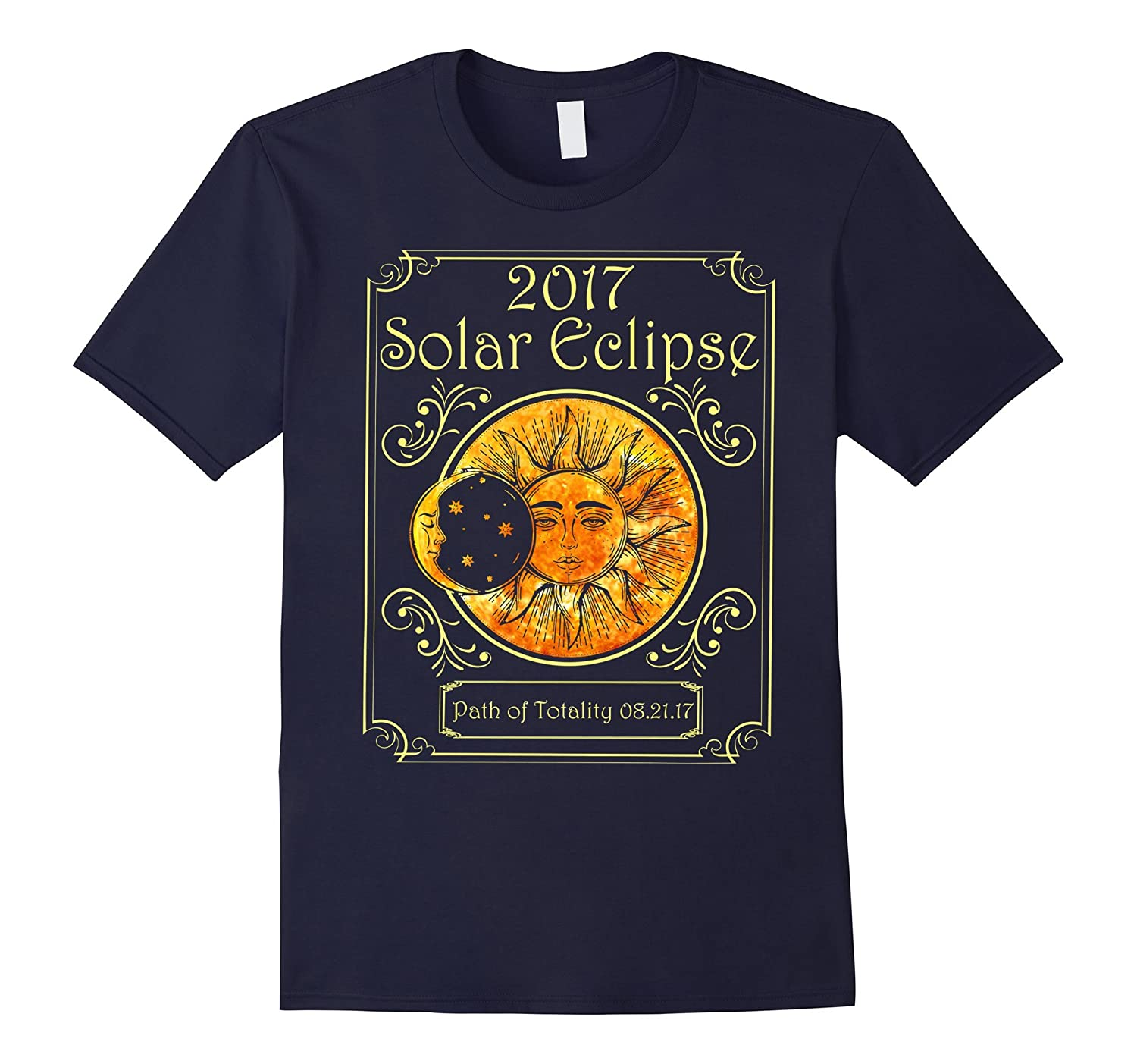 2017 Solar Eclipse Path Of Totality Art Moon And Sun T-shirt-BN