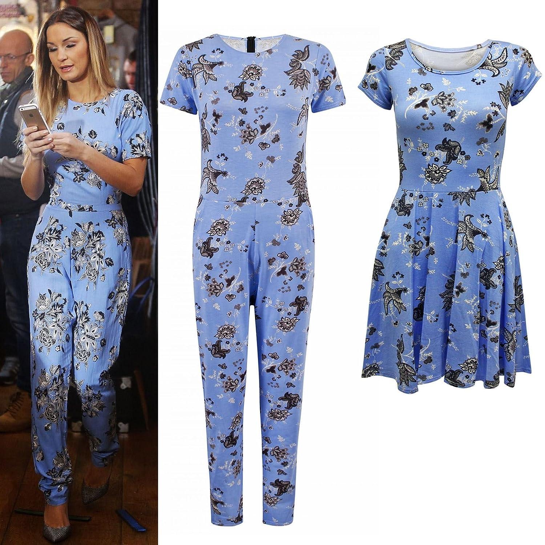 d5059f01467ee Envy Boutique - Combinaison Pantalon Femme Célébrité Fleurs Petite Manche  Robe Patineuse - Combinaison à fleurs bleues, EU 36  Amazon.fr  Vêtements  et ...
