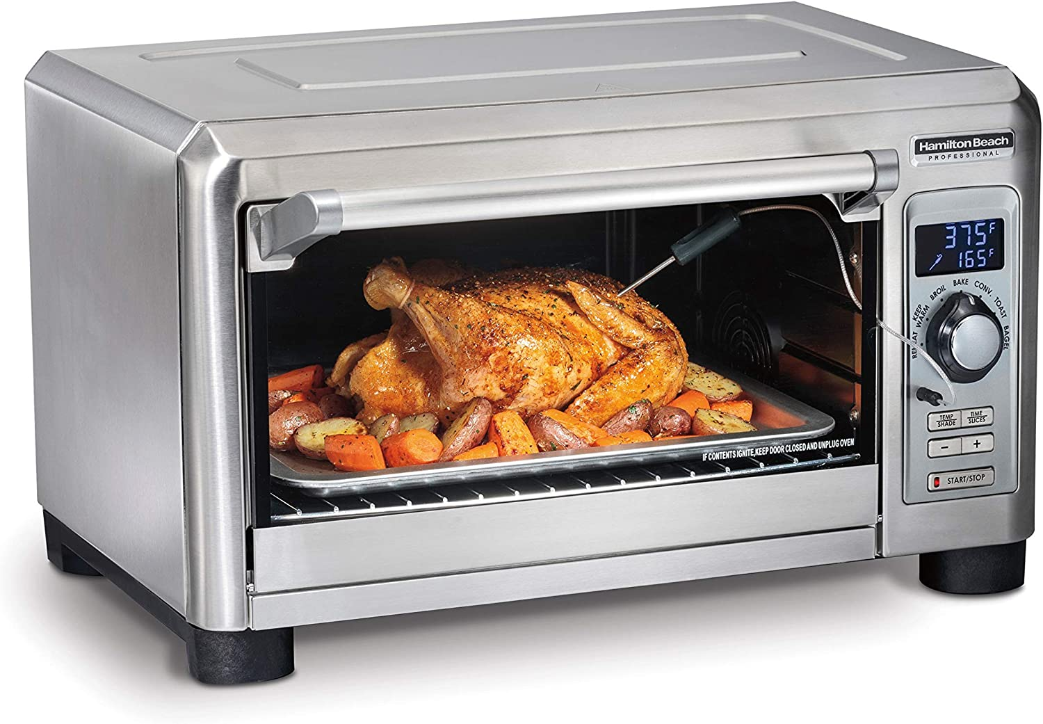 Hamilton Beach Professional Countertop Toaster Oven, Digital, Convection, Large 6-Slice, Temperature Probe, Stainless Steel (31240), (Renewed)