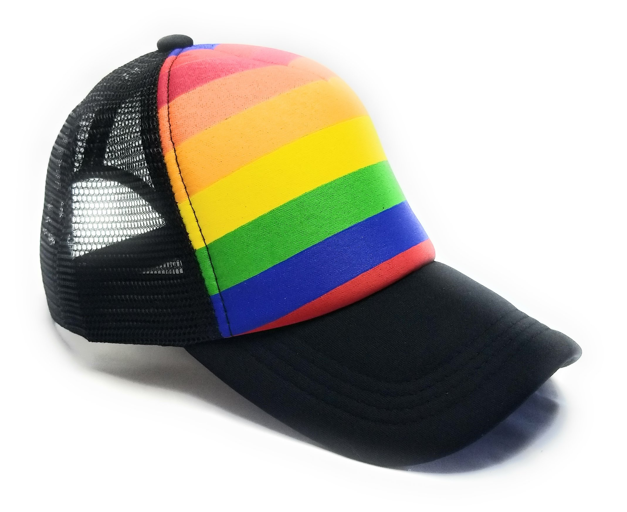Gay Pride Neon Rainbow Stripes Snapback Hat, LGBT Bright Mesh Trucker Baseball Cap (Black)