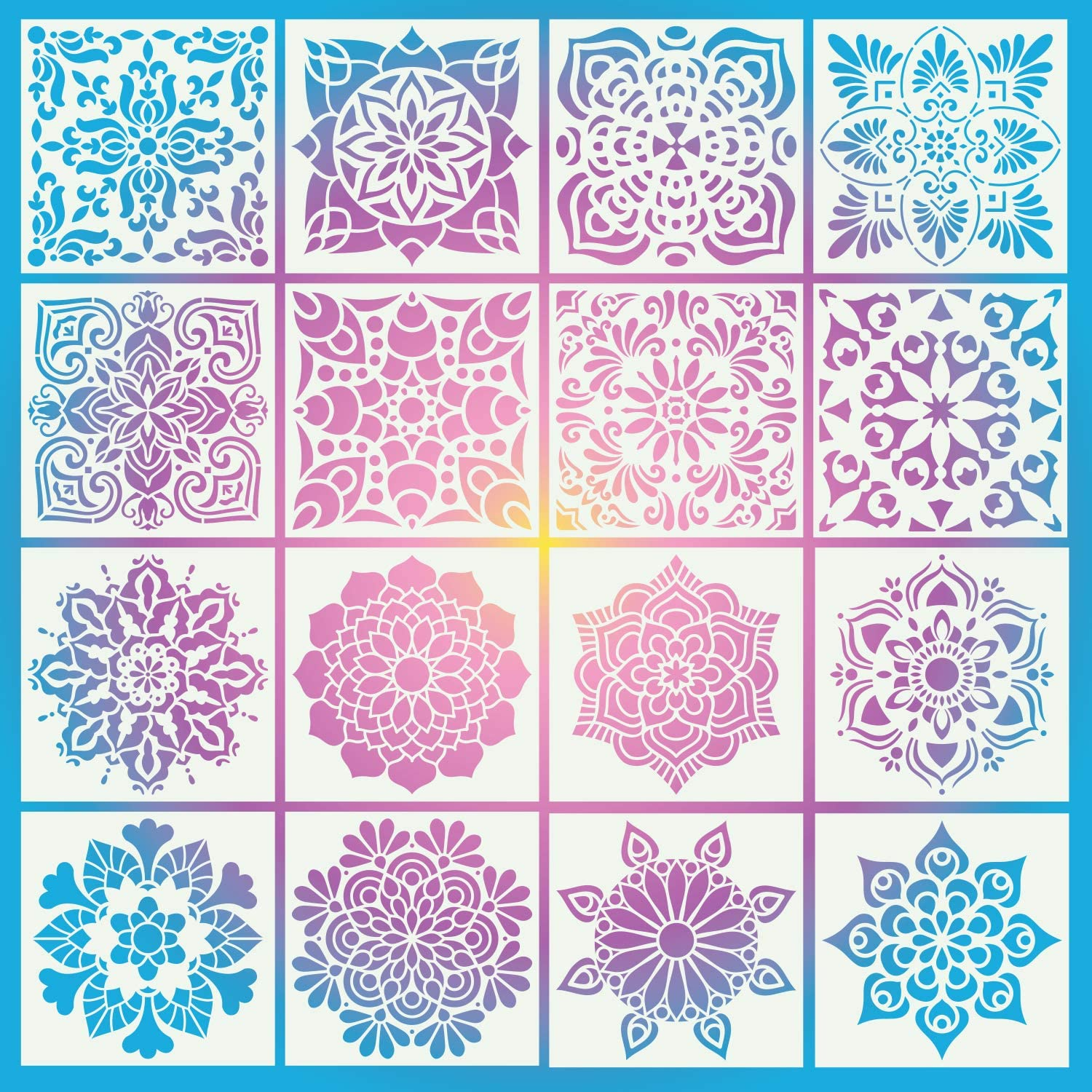 16 Pack (6x6 Inch-3) Painting Drawing Stencils Mandala Template for DIY Rock Floor Wall Tile Fabric Furniture Stencils for Crafts Projects Home Decoration Painting Art Projects Reusable