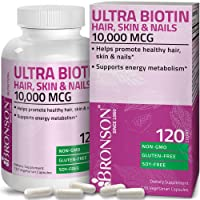 Ultra Biotin 10,000 Mcg Hair Skin and Nails Supplement, Non-GMO, 120 Vegetarian Capsules