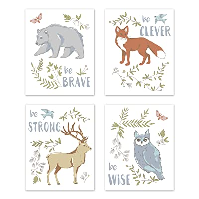 Sweet Jojo Designs Blue, Grey, Brown and Orange Wall Art Prints Room Decor for Baby, Nursery, and Kids for Woodland Animal Toile Collection - Set of 4 - Brave, Clever, Strong, Wise: Baby