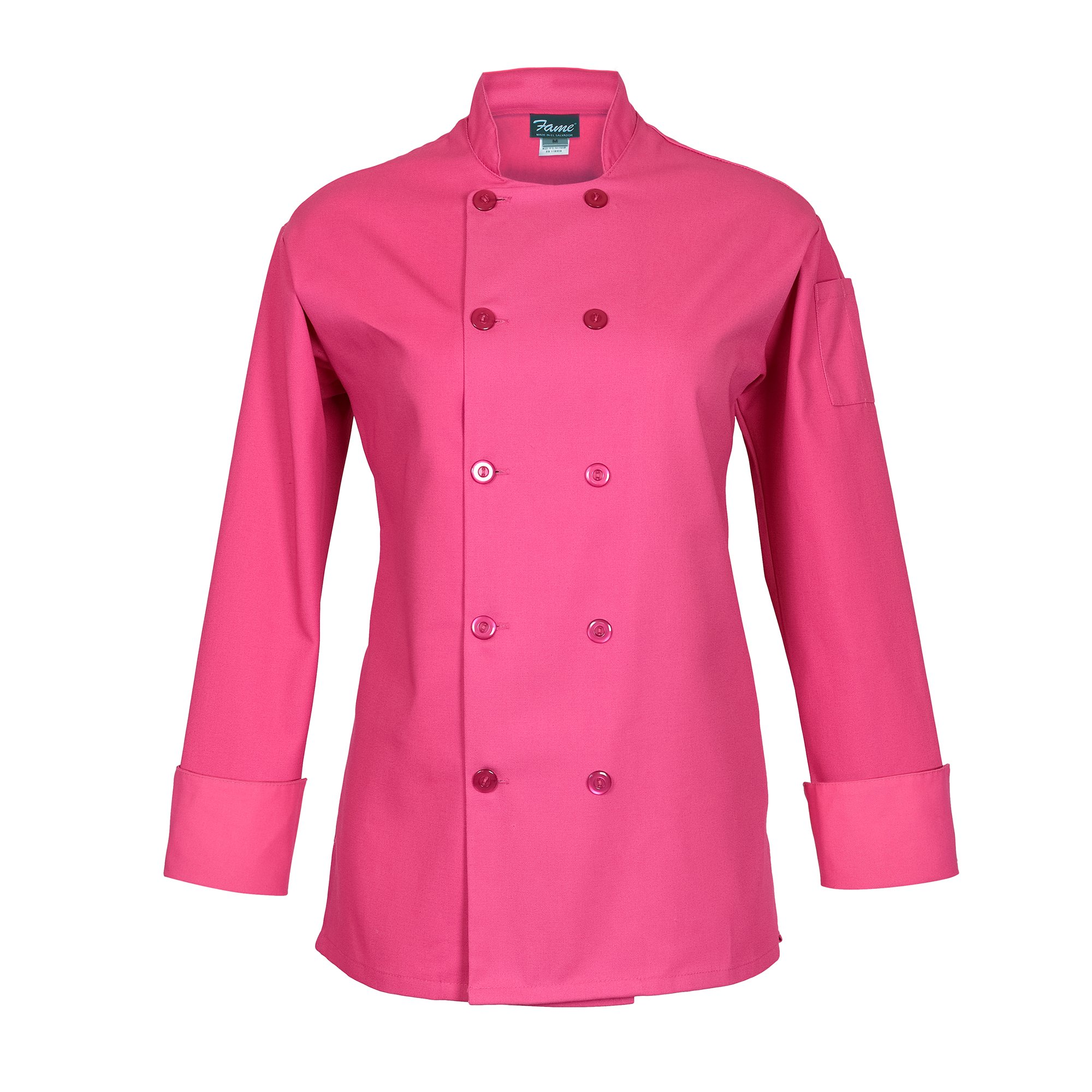 Fame Women's Long Sleeve Chef Coat (small, Raspberry) by Fame