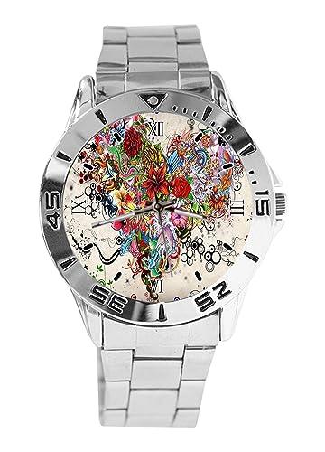 Tattoo Reloj de Pulsera analógico con diseño de corazón y Cuarzo, Esfera Plateada, Correa clásica de Acero Inoxidable para Hombre y Mujer: Amazon.es: ...