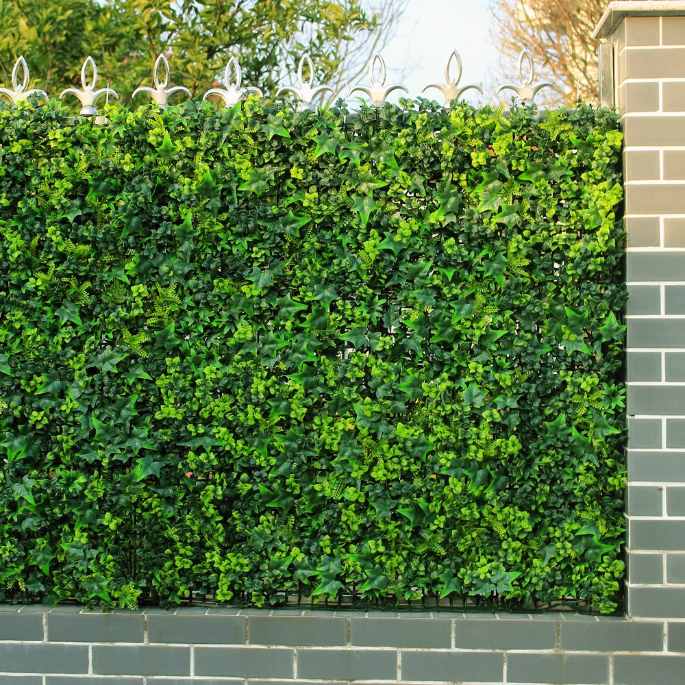 Artificial Ivy Fence, Garden Ivy Privacy Fence, Plastic Boxwood Hedges Panels ( 12pcs 20''x20'') (12, 1) by ULAND