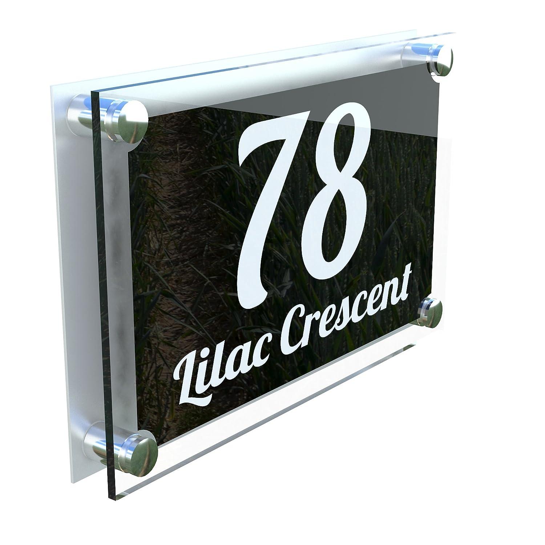 MODERN HOUSE SIGN PLAQUE DOOR NUMBER STREET GLASS EFFECT ACRYLIC ALUMINIUM NAME - Font 1 K Smart Sign Ltd