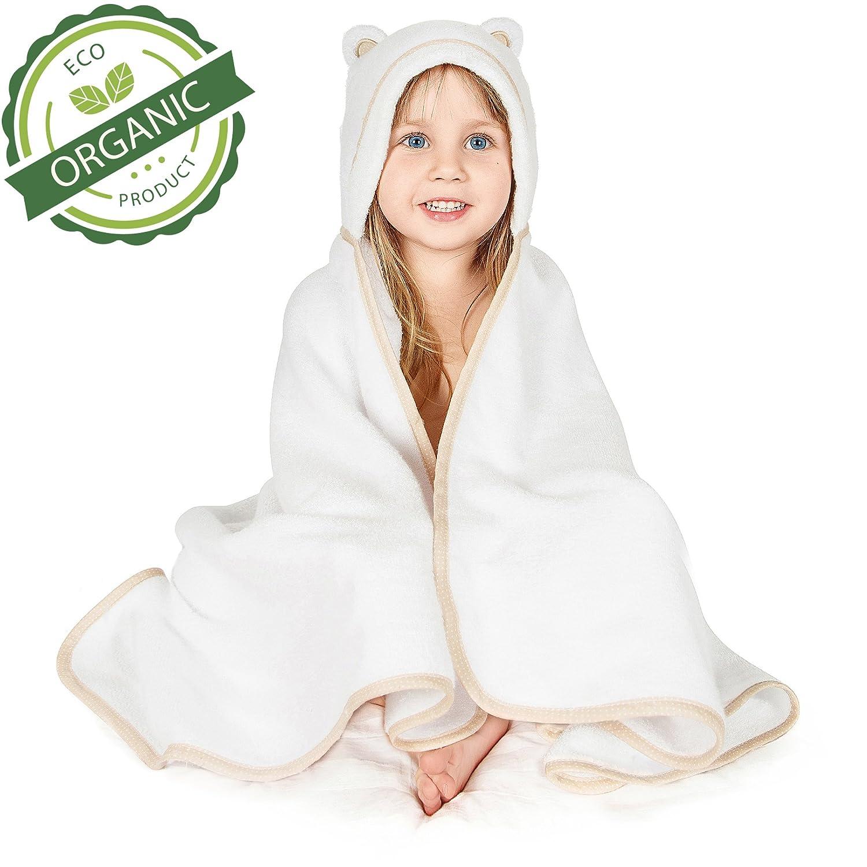 Premium Toddler Towel with Hood | Organic Bamboo Toddler Hooded Bath Towel | Large Hooded Towel for Toddler Newborn Infant Boy Girl | Baby Bath Towel Warm Cuddles