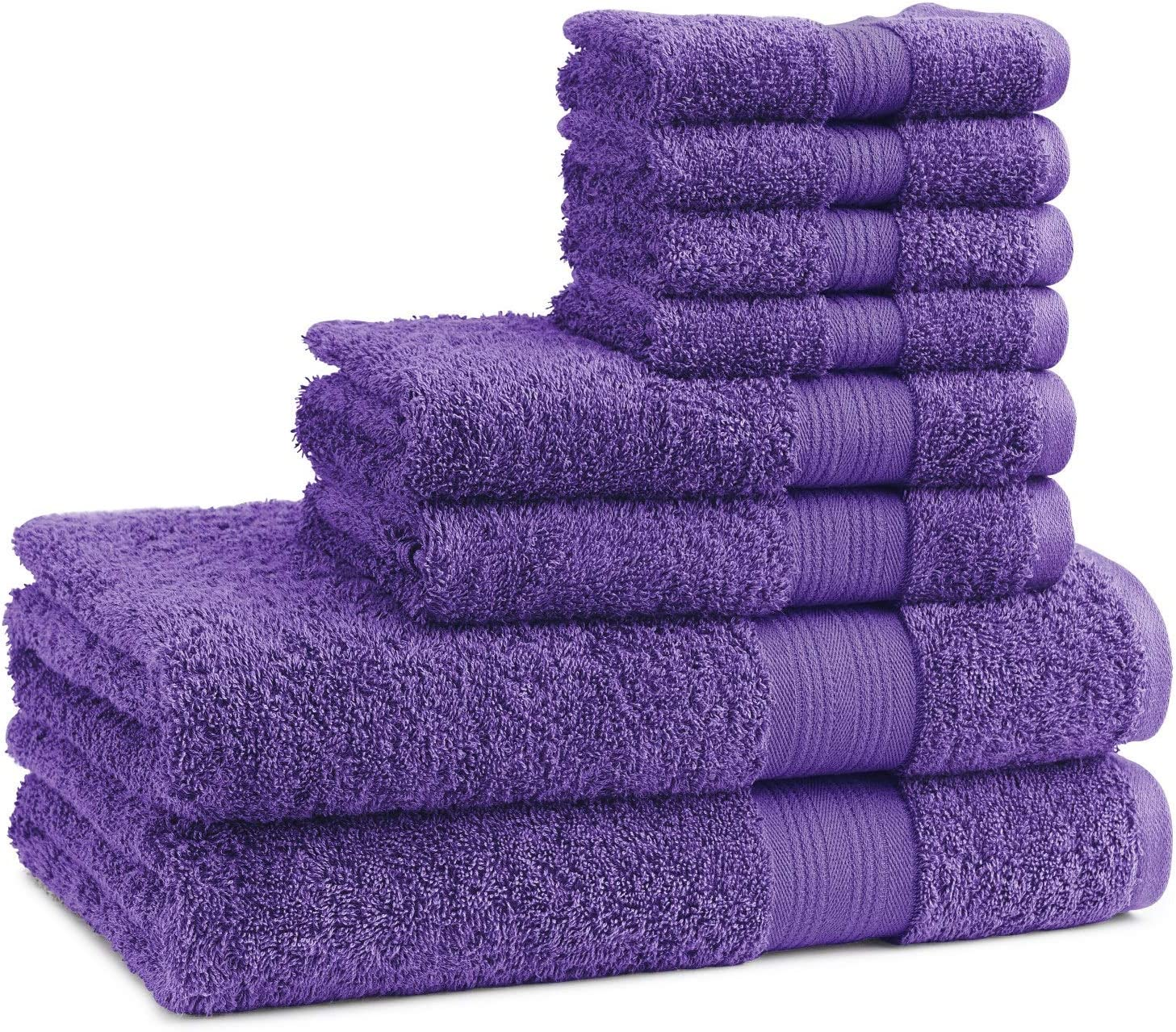 EuroSpa Luxury 8 Piece Bath Towel Set | 100% Cotton Quick Dry | Highly Absorbent Bathroom Towels | Ultra Soft | Large - 500 GSM (4 Wash Cloth, 2 Hand Towel, 2 Bath Towel) | Lilac Color