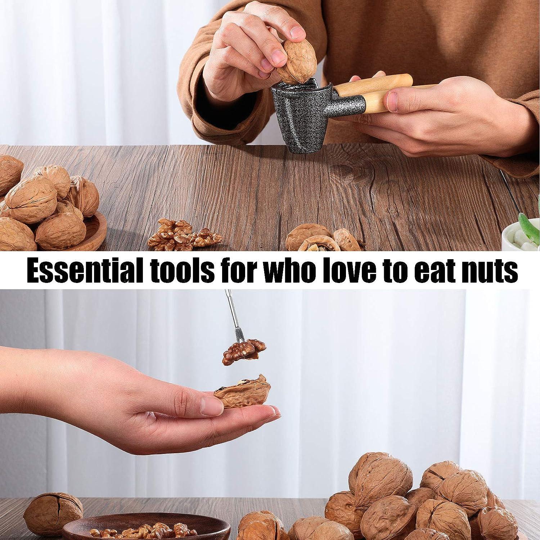Patelai Pecan Nut Cracker with 4 Pieces Picks Heavy Duty Spring Loaded Nutcracker Pecan Walnut Plier Opener Tool Walnut Cracker with Non-Slip Wooden Handle