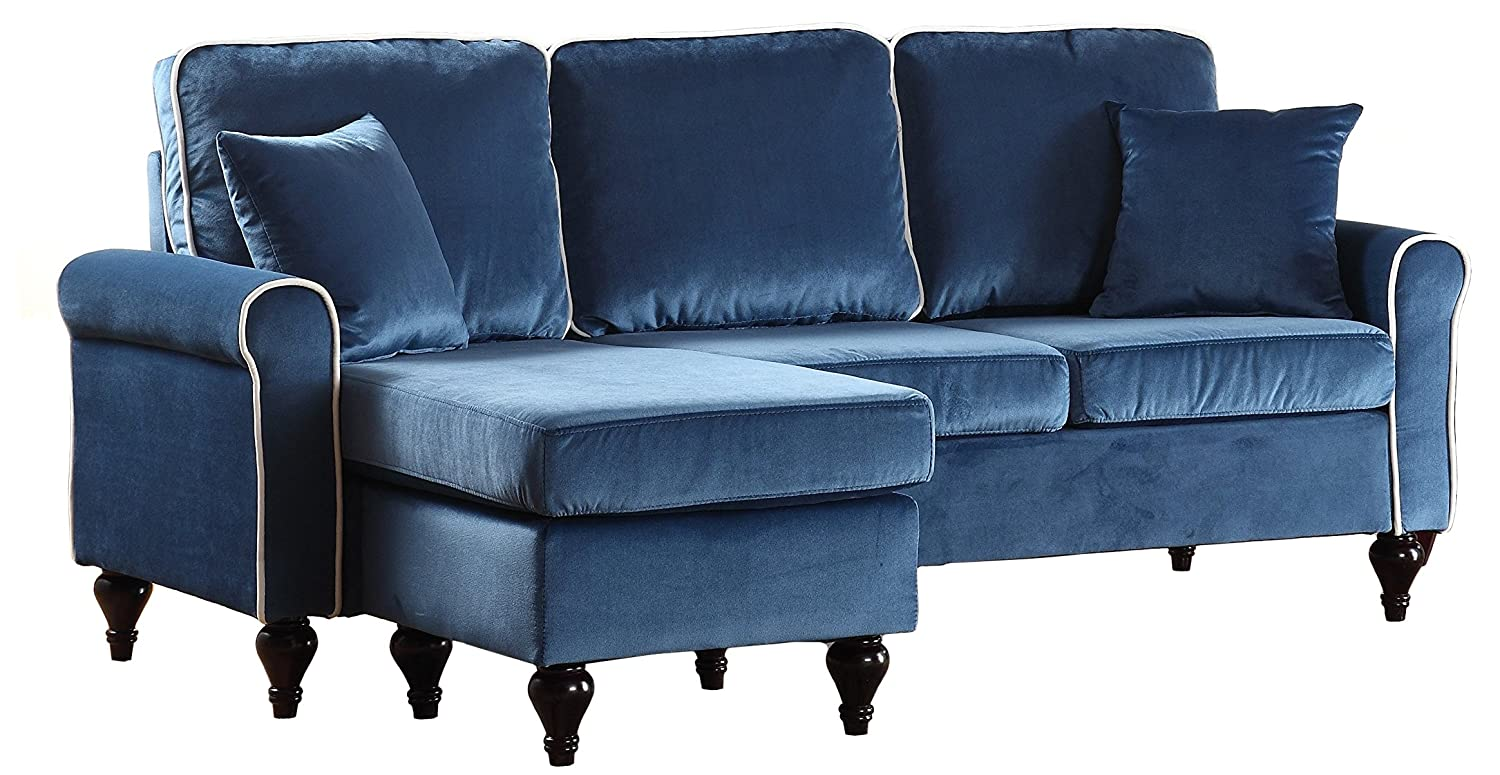 Divano Roma Furniture Classic and Traditional Small Space Velvet Sectional Sofa with Reversible Chaise (Blue) Furniture Mania