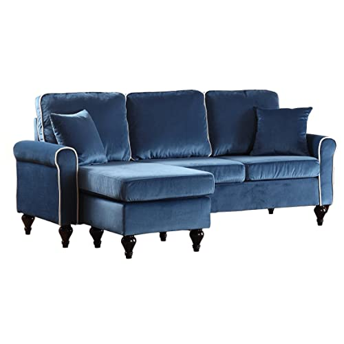 Attractive Madison Home Traditional Small Space Velvet Sectional Sofa With Reversible  Chaise Blue