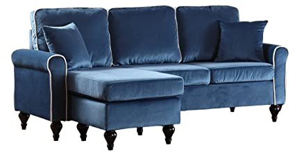 Divano Roma Furniture Classic And Traditional Small Space Velvet Sectional  Sofa With Reversible Chaise (Blue