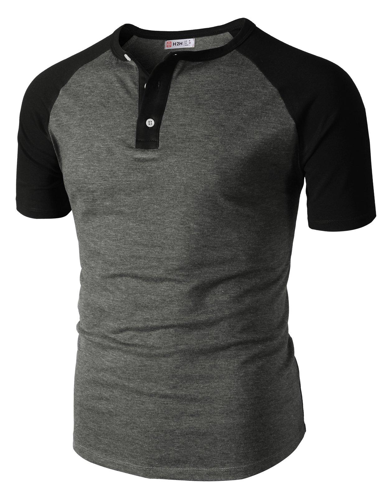 H2H Men's Big & Tall Heavyweight Short-Sleeve Henley Shirt HeatherGray US XL/Asia 2XL (CMTTS0222)