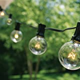 50Ft G40 String Lights with 50 Globe Lights (Plus 10 Extra Bulbs) for Indoor & Outdoor Use - Perfect for Wedding Lights, Bedroom Lighting, Patio Lights, Dancing Lights, Party Light & More