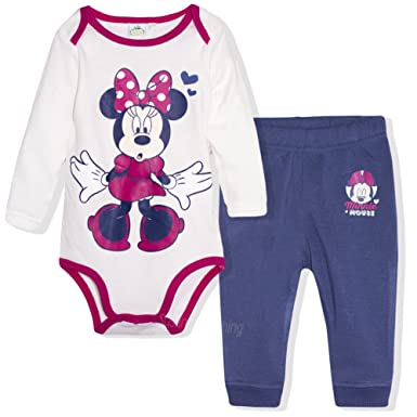 dcb036a34 Disney Minnie Mouse Baby Girls Clothing Set Joggers + Babygrow Top Long  Sleeve - White 12: Amazon.co.uk: Clothing
