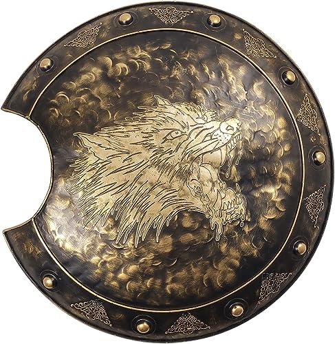 LOOYAR Crescent-shaped Roman Wolf Head Ancient Greek Metal Shield Handcrafted