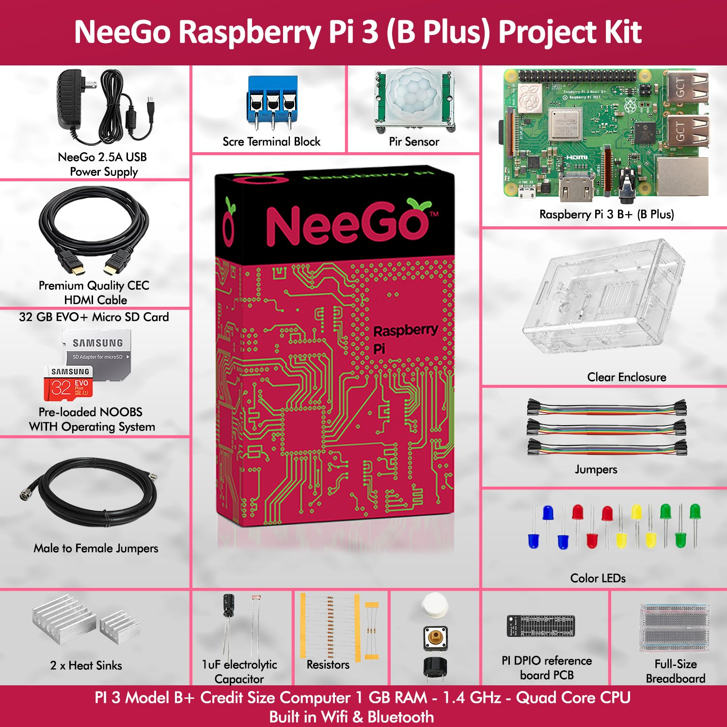 Neego Raspberry Pi 3 B+ (B Plus) Ultimate Education Starter Kit, B+ Motherboard, 32-GB Micro SD Card Preloaded With Noobs, 10-Piece Education Kit, Heatsinks, Clear Case, 2.5A Power Supply, HDMI Cable, by NeeGo (Image #2)