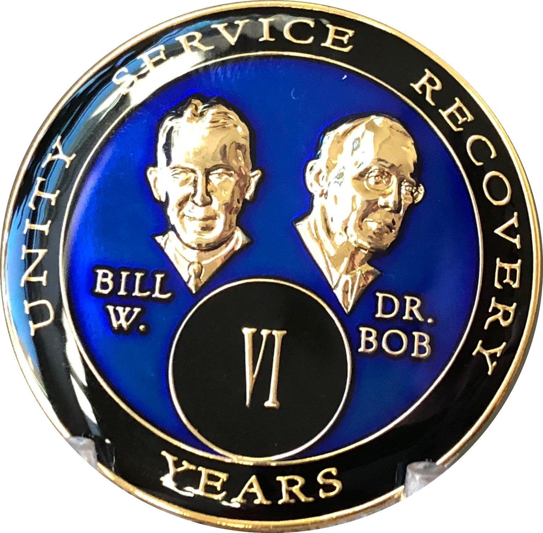 6 Year Founders Blue Tri-Plate AA Medallion Bill & Bob Chip VI