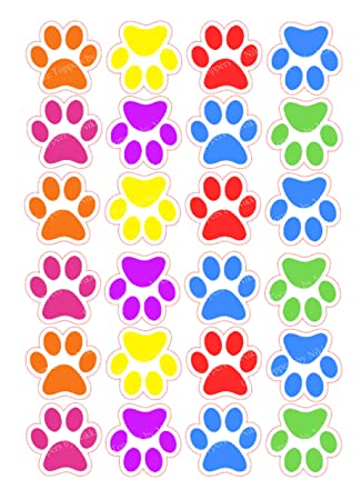 24 Edible 3.5cm Colourful Paw Prints Edible PRECUT ICING Great For Paw  Patrol Cakes