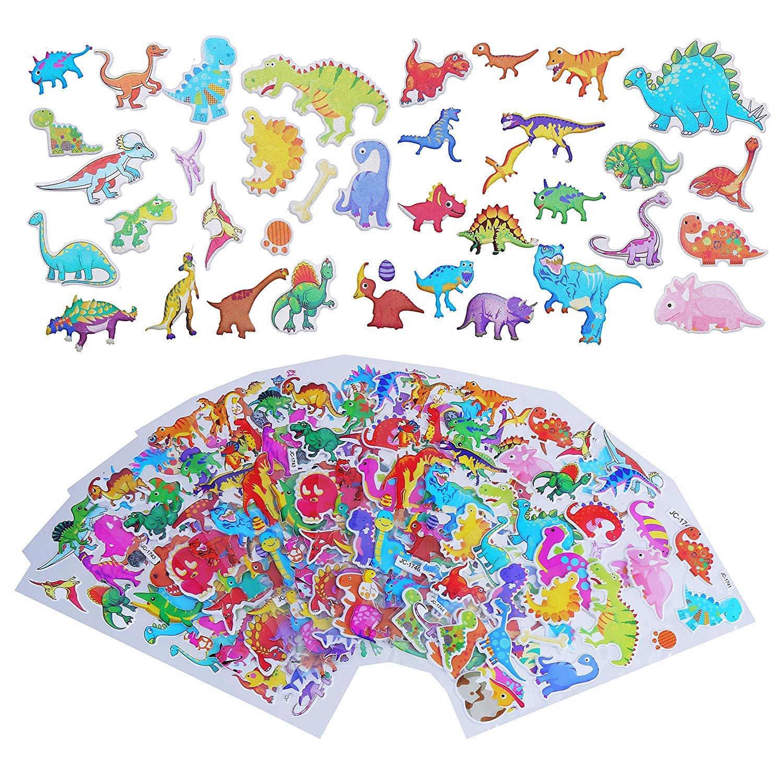 222PCS LOKIPA 14 Dinosaur Sticker Sheets for Party Bag Fillers