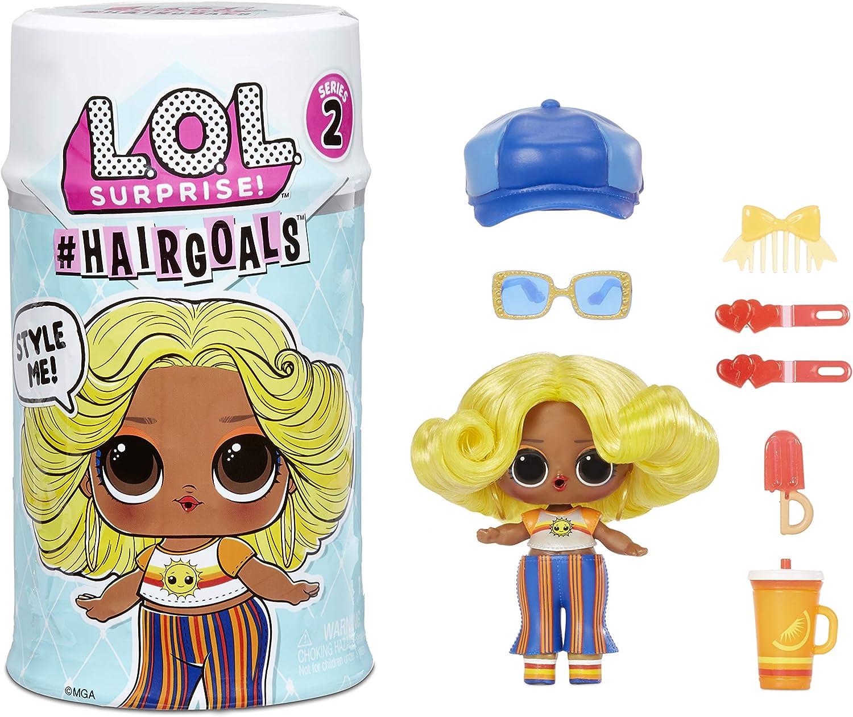 LOL Surprise Hairgoals Serie 2 , Incluye 15 Sorpresas , Muñeca Sorpresa con Cabello y Accesorios Reales , Divertido Efecto de Cambio de Color , Coleccionable