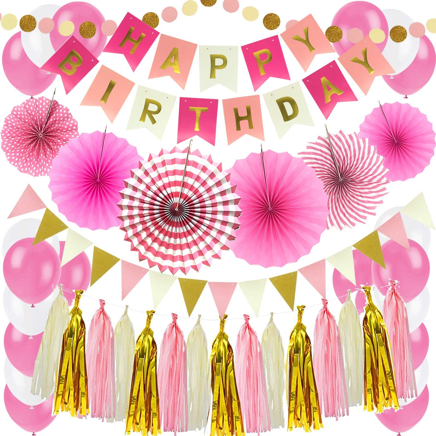ZERODECO Birthday Party Decoration, Pink Happy Birthday Banner with Paper Fans Garland String Triangle Bunting Flag Tissue Tassel and Balloon for Bday Party Supplies Anniversary Decoration