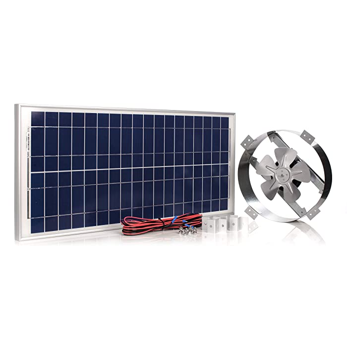 Amtrak Solar Powerful 40-Watt Galvanized Steel New Upgraded 14 inch Solar Attic Fan Quietly Cools and Ventilates Your House, Garage or RV and Protects Against Moisture Build-up.