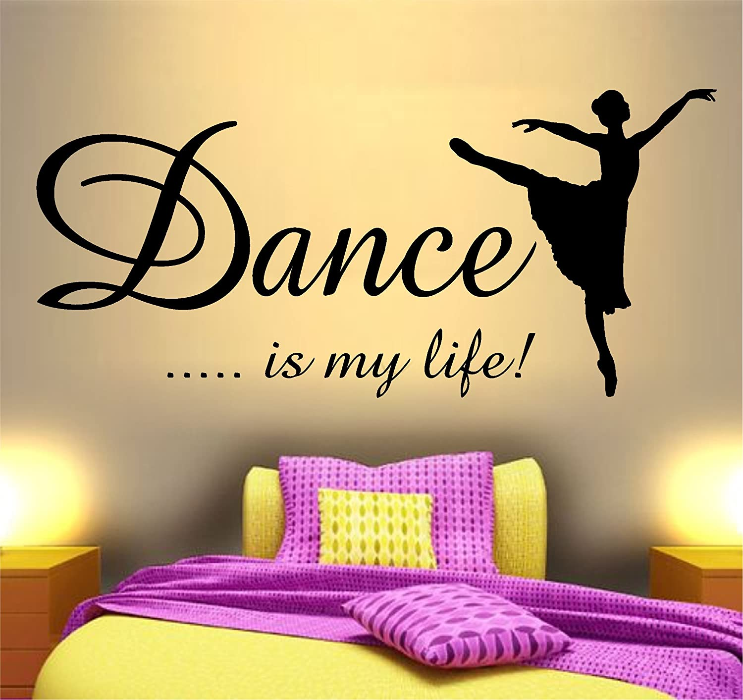 DANCE IS MY LIFE WALL ART STICKER QUOTE ~ IDEAL FOR GIRLS BEDROOM ...