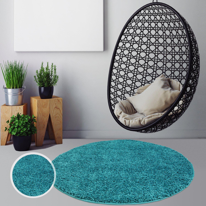 Myshop24h  Hochflor Shaggy RunderTeppich Teppich Rund Teppich Einfarbig Wohnzimmer Küche Farben, Farbe Türkis, Größe in cm 200 x 200 cm rund