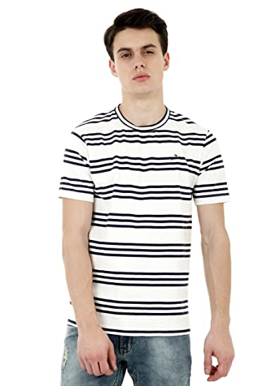 fad17d4c1 Roman Island Men s White and Black Lines Half Sleeves T-Shirt ...